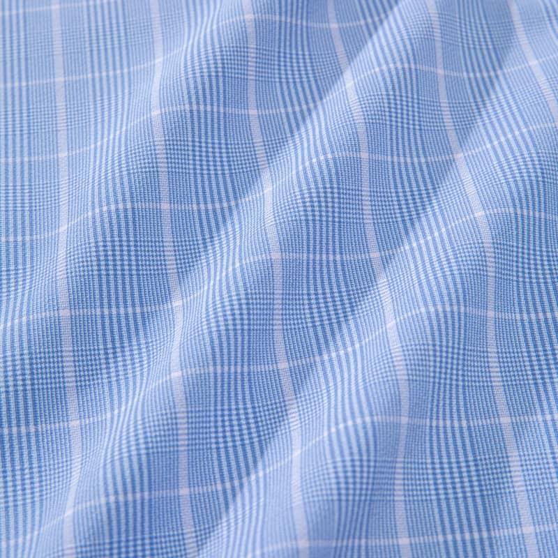Leeward Dress Shirt - Blue Pink GlenPlaid, fabric swatch closeup