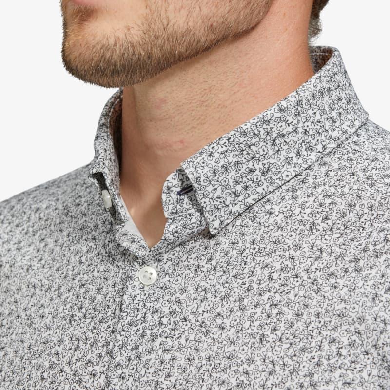 Leeward Dress Shirt - Black White FloralPrint, lifestyle/model