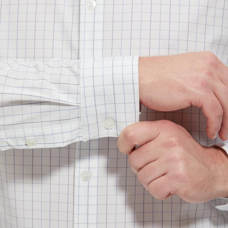 Leeward Dress Shirt - Light Blue Check, lifestyle/model