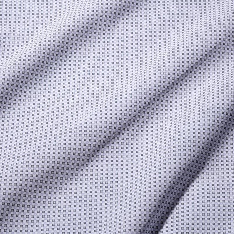 Leeward Dress Shirt - Navy Gray GeoPrint, fabric swatch closeup