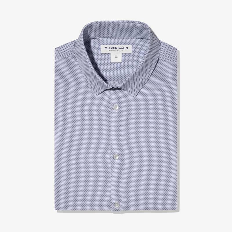 Leeward Dress Shirt - Navy Gray GeoPrint, featured product shot