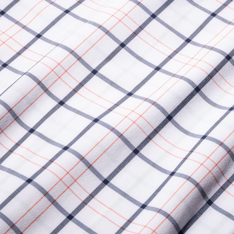 Leeward Dress Shirt - Navy Orange MultiCheck, fabric swatch closeup