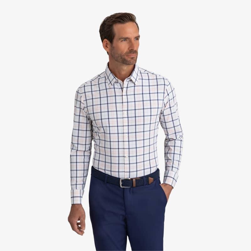 Leeward Dress Shirt - Navy Orange MultiCheck, lifestyle/model