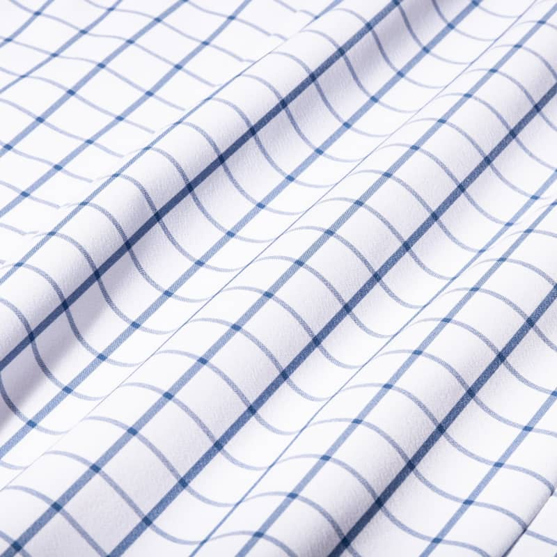 Leeward Dress Shirt - Dark Blue Windowpane, fabric swatch closeup