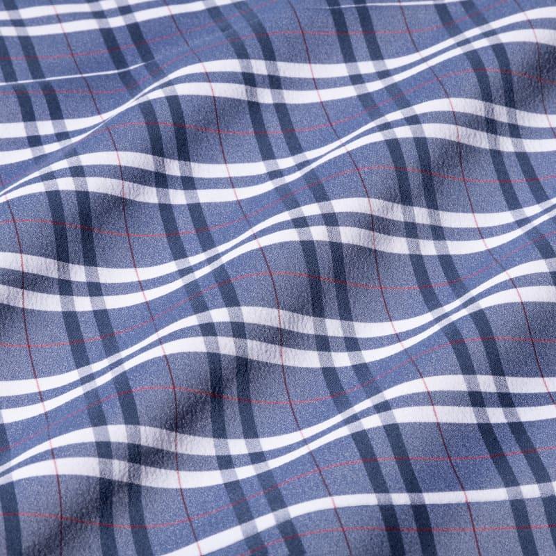 Leeward Dress Shirt - Navy Red MultiPlaid, fabric swatch closeup