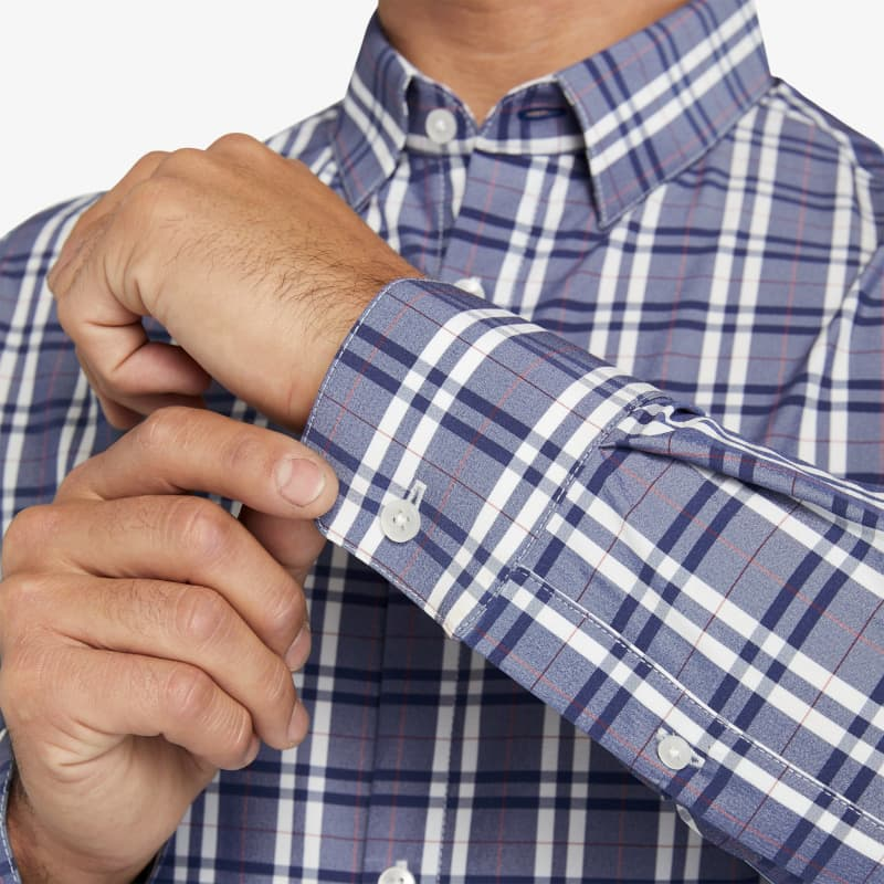 Leeward Dress Shirt - Navy Red MultiPlaid, lifestyle/model