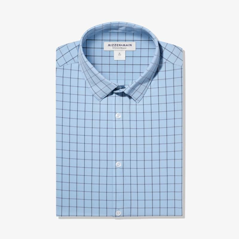 Leeward Dress Shirt - Light Blue Windowpane, featured product shot