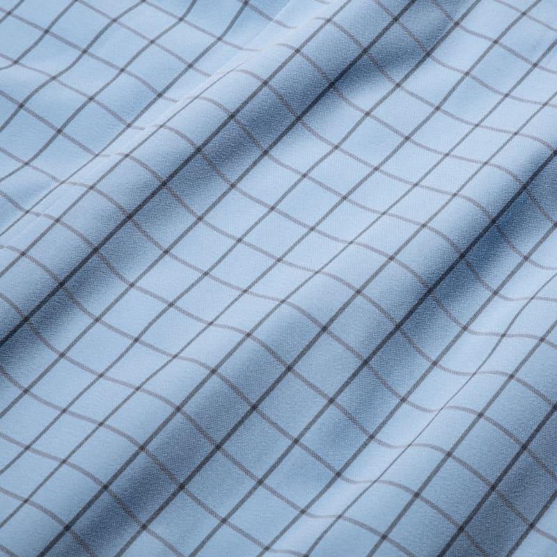 Leeward Dress Shirt - Light Blue Windowpane, fabric swatch closeup