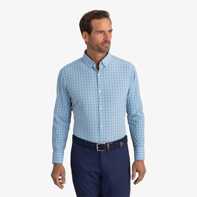Leeward Dress Shirt - Light Blue Windowpane, lifestyle/model