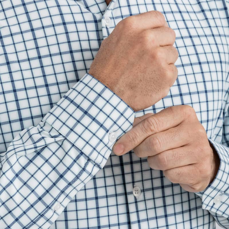 Leeward Dress Shirt - Navy Aqua MultiCheck, lifestyle/model