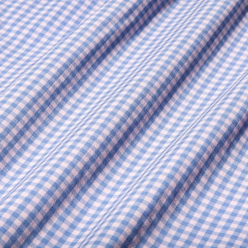 Leeward Dress Shirt - Pink Blue MiniCheck, fabric swatch closeup