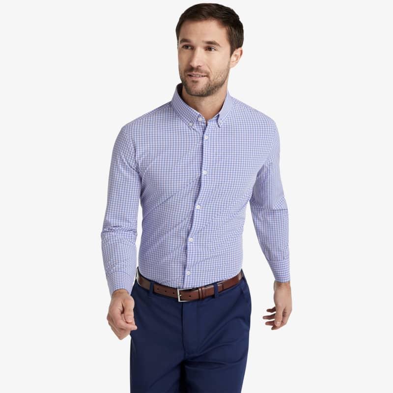 Leeward Dress Shirt - Pink Blue MiniCheck, lifestyle/model