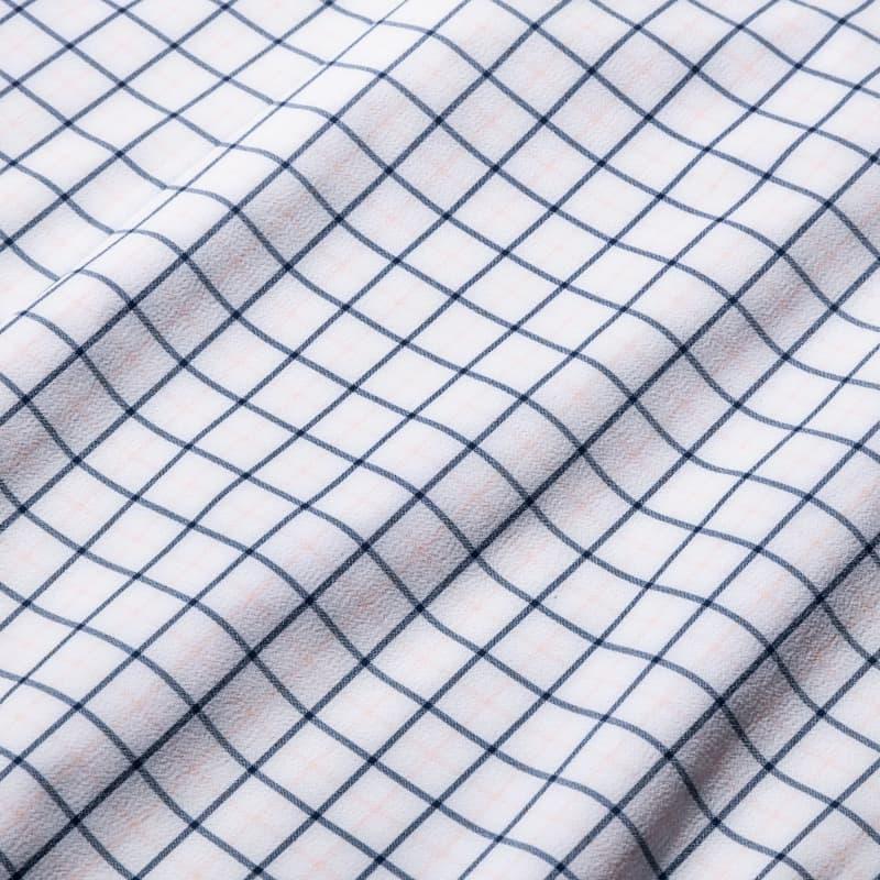 Leeward Dress Shirt - Pink Blue Tattersall, fabric swatch closeup
