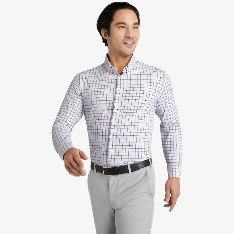 Leeward Dress Shirt - Pink Blue Tattersall, lifestyle/model