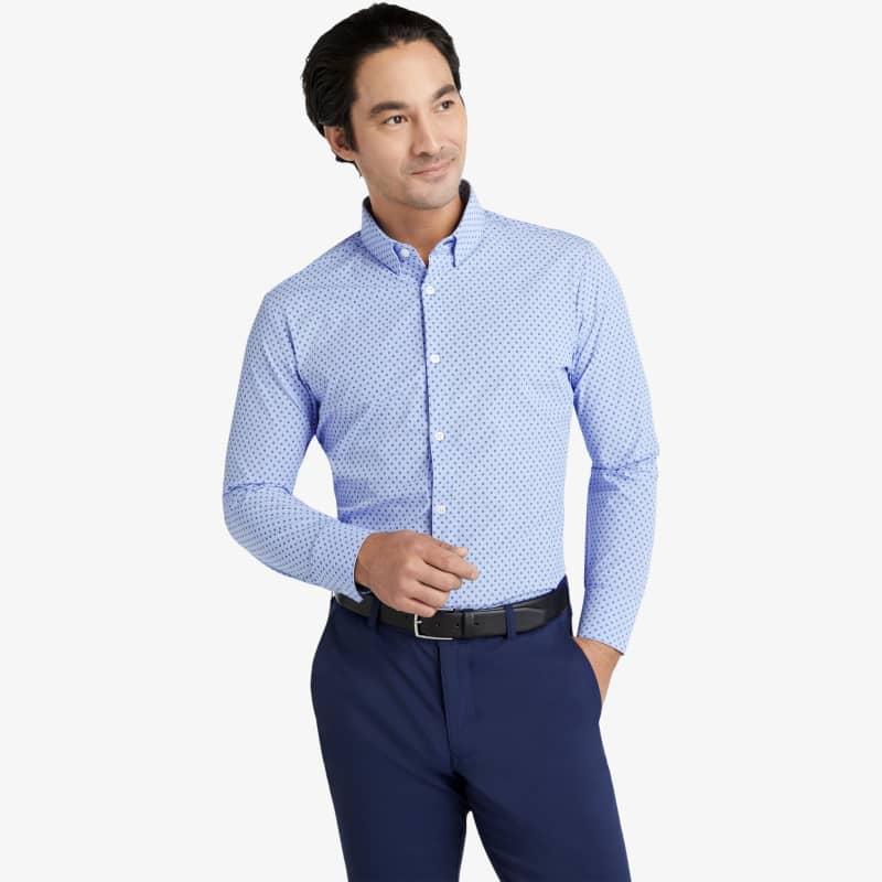 Leeward Dress Shirt - Floral Stripe Print, lifestyle/model