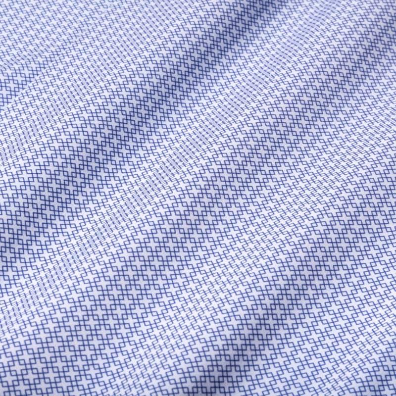 Leeward Dress Shirt - Navy Diamond GeoPrint, fabric swatch closeup