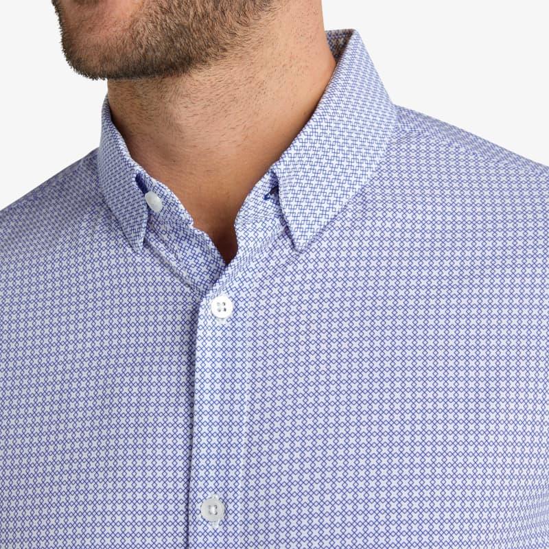 Leeward Dress Shirt - Navy Diamond GeoPrint, lifestyle/model