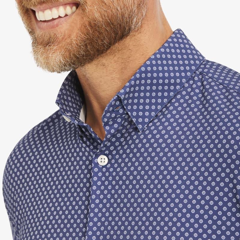 Leeward Dress Shirt - Navy Geo DotPrint, lifestyle/model