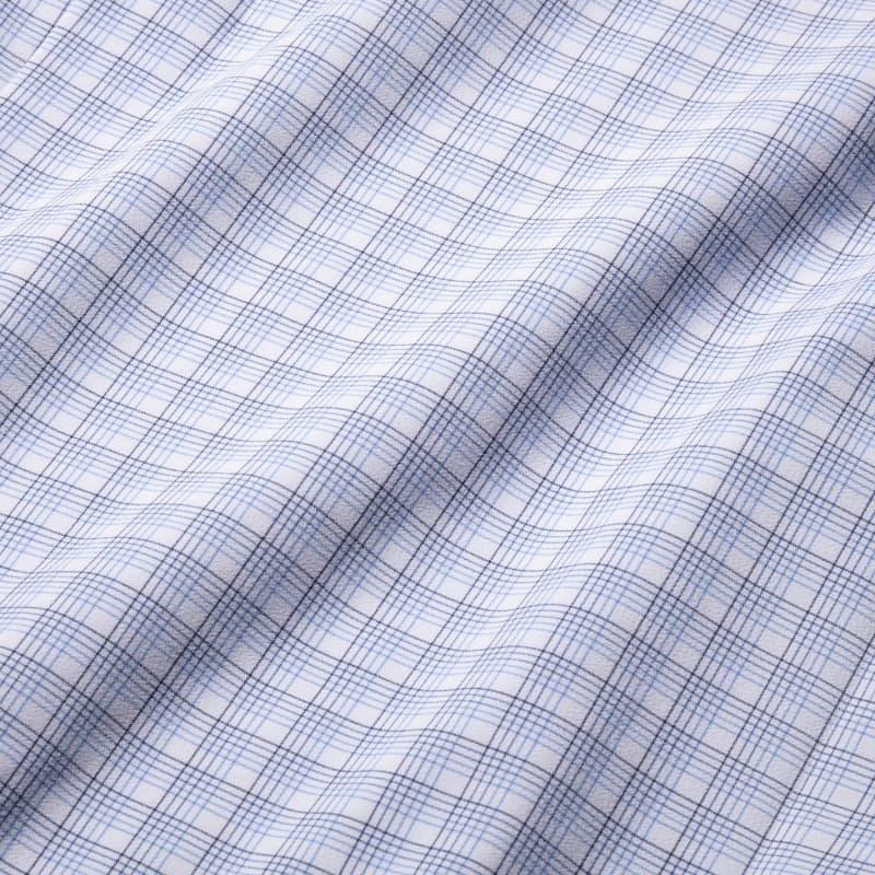 Leeward Dress Shirt - Blue Multi Check, fabric swatch closeup