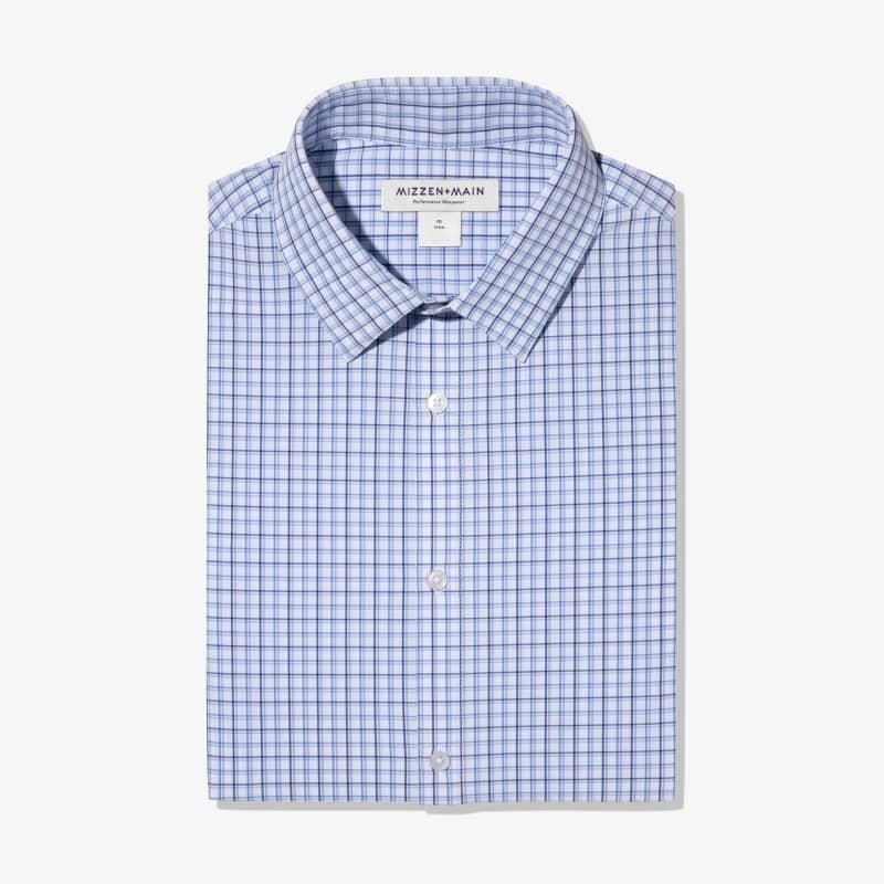 Leeward Dress Shirt - Navy Blue Tattersall, featured product shot