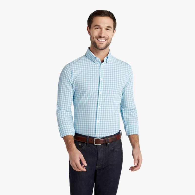 Leeward Dress Shirt - Aqua Gingham, lifestyle/model