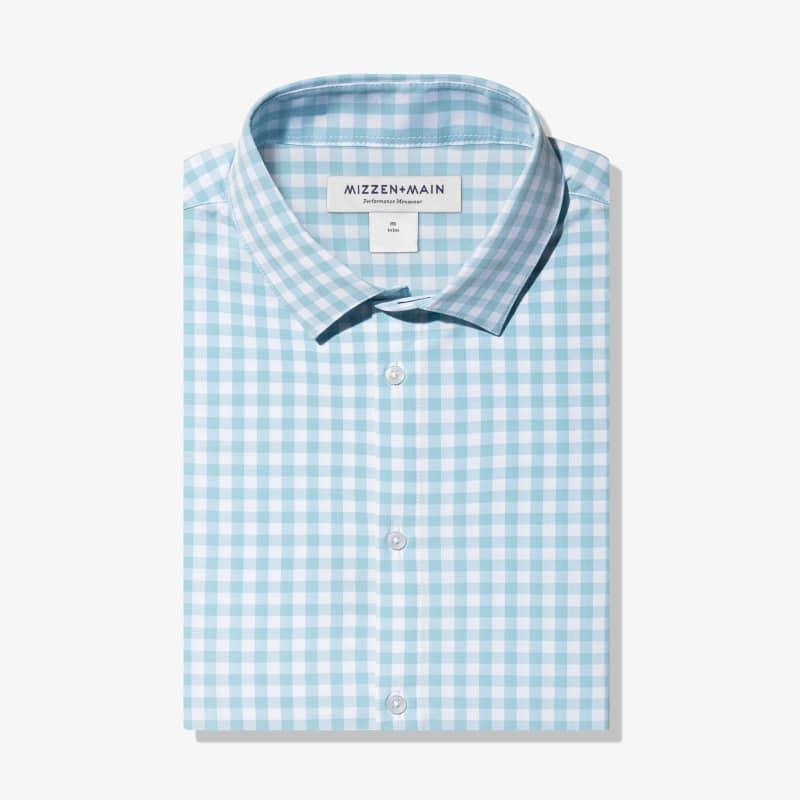 Leeward Dress Shirt - Aqua Gingham, featured product shot