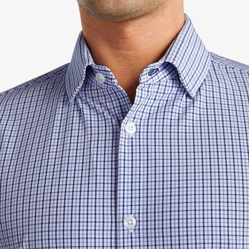 Leeward Dress Shirt - Navy Purple Check, lifestyle/model