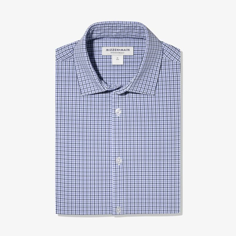 Leeward Dress Shirt - Navy Purple Check, featured product shot