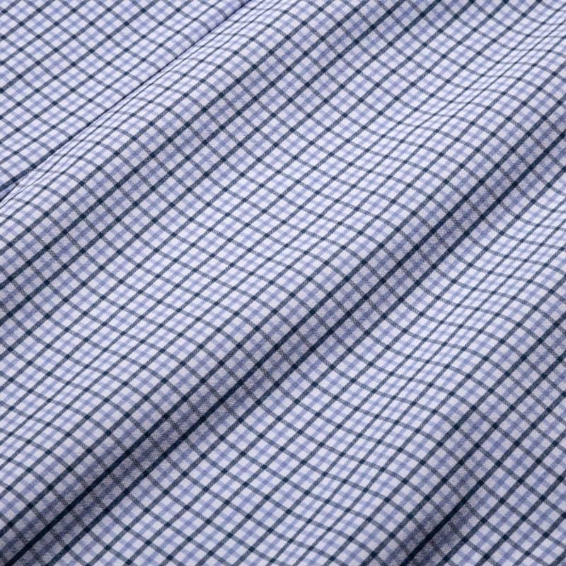 Leeward Dress Shirt - Navy Purple Check, fabric swatch closeup