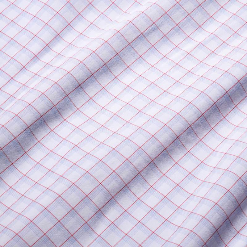 Leeward Dress Shirt - Red Light Blue MultiCheck, fabric swatch closeup