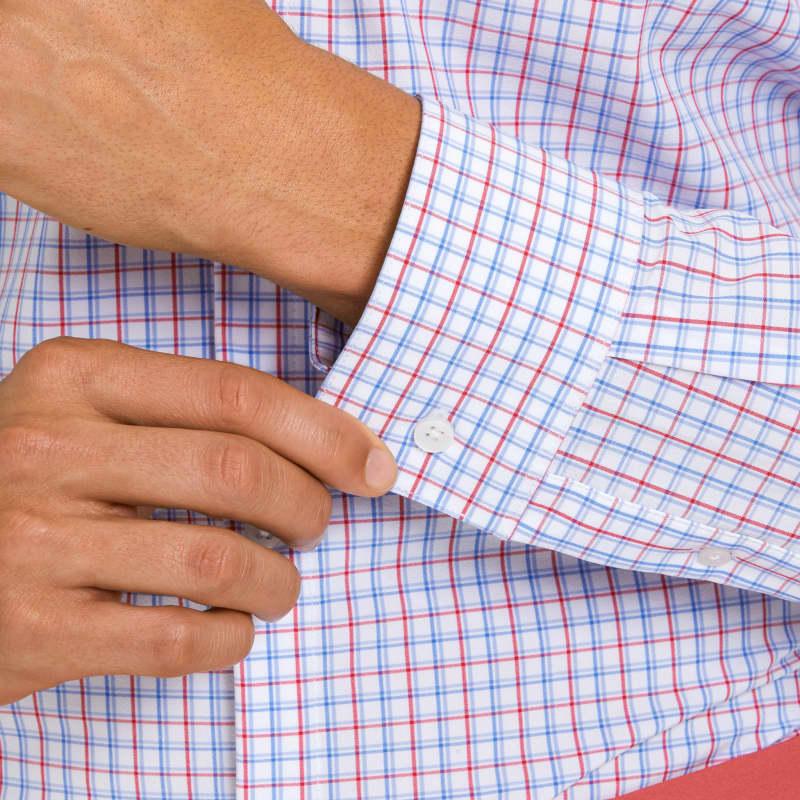 Leeward Dress Shirt - Red Blue Check, lifestyle/model