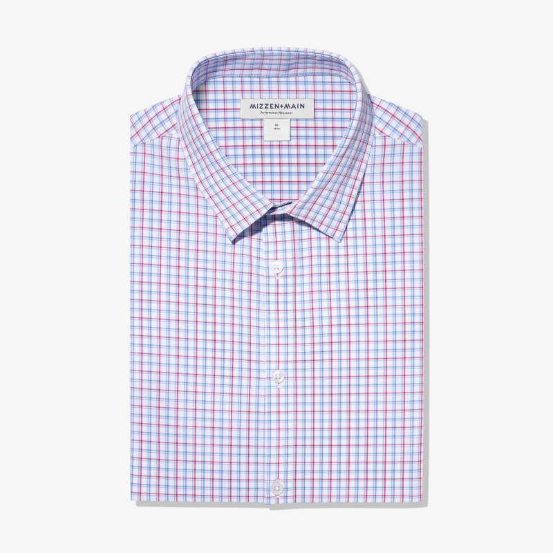 Leeward Dress Shirt - Red Blue Check, featured product shot