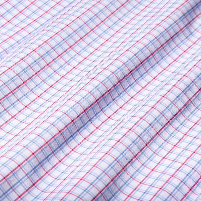 Leeward Dress Shirt - Red Blue Check, fabric swatch closeup