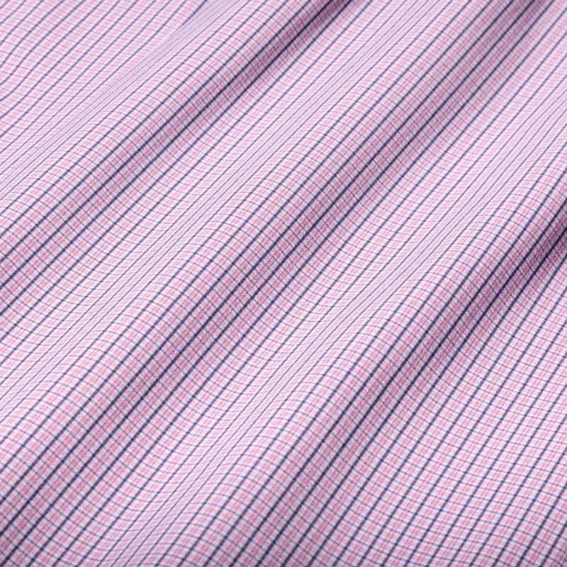 Leeward Dress Shirt - Red Navy MiniCheck, fabric swatch closeup