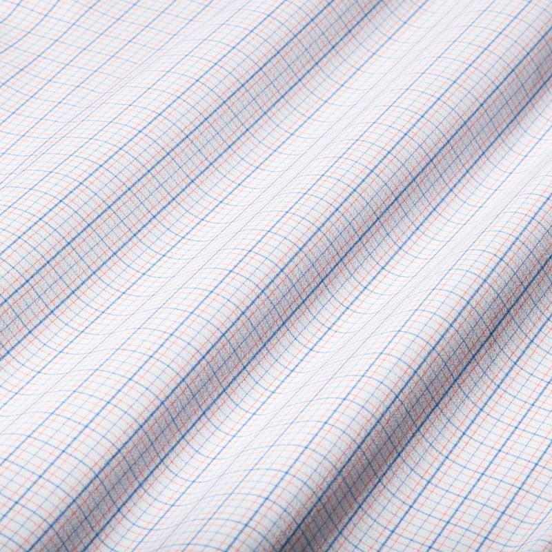 Leeward Dress Shirt - Orange Blue MultiCheck, fabric swatch closeup