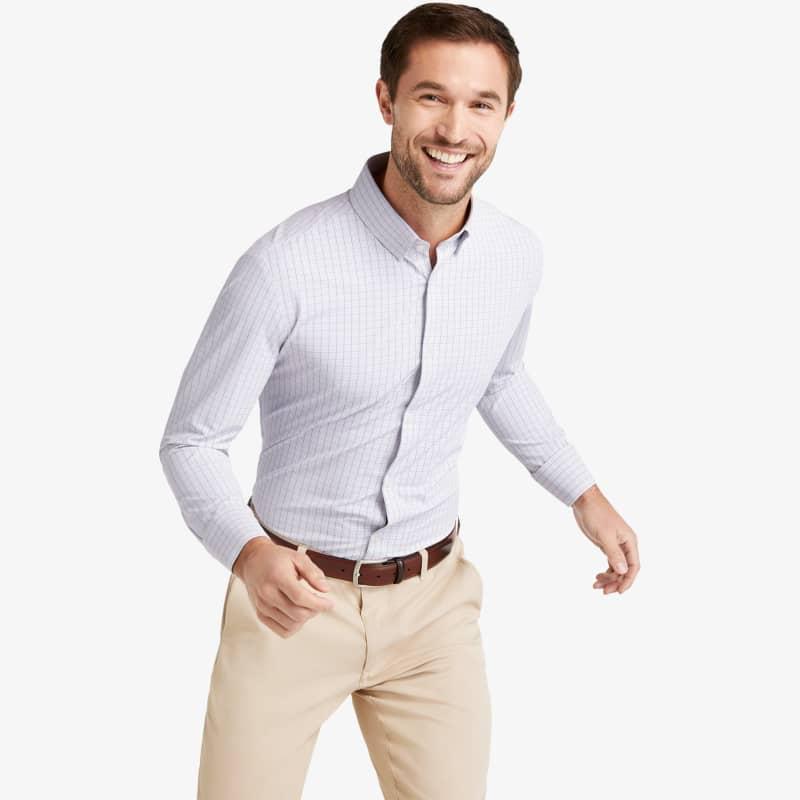 Leeward Dress Shirt - Orange Blue MultiCheck, lifestyle/model