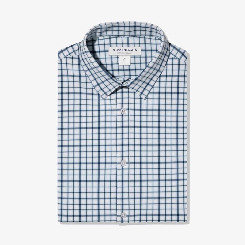 Leeward Dress Shirt - Navy Aqua MultiCheck, featured product shot