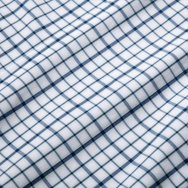 Leeward Dress Shirt - Navy Aqua MultiCheck, fabric swatch closeup