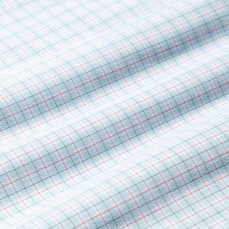Lightweight Leeward Short Sleeve - Navy Red MiniCheck, fabric swatch closeup
