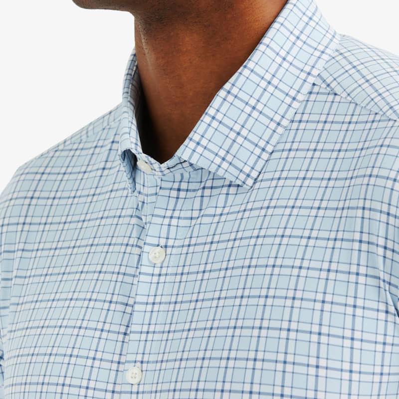 Lightweight Leeward Dress Shirt - Light Blue Navy MultiCheck, lifestyle/model