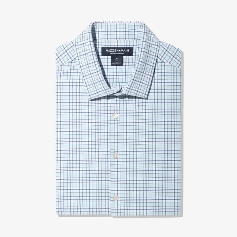 Lightweight Leeward Dress Shirt - Light Blue Navy MultiCheck, featured product shot