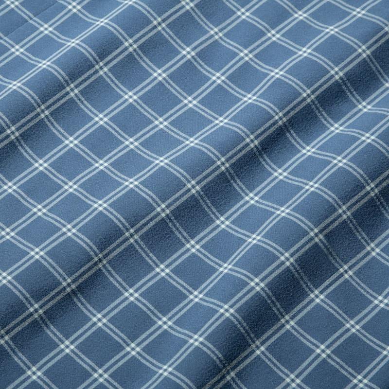 Lightweight Leeward Short Sleeve - Navy Aqua Check, fabric swatch closeup