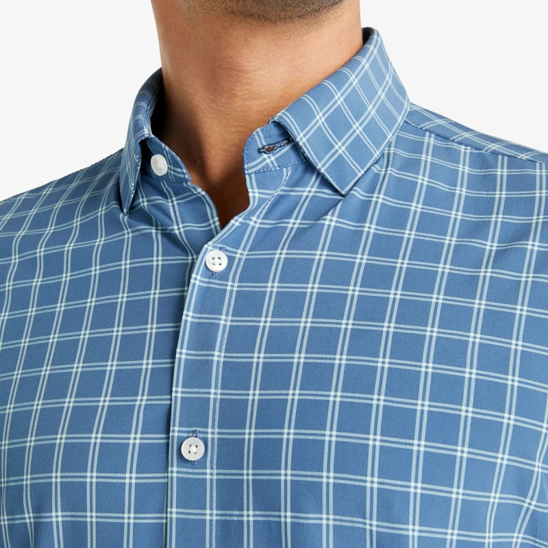 Lightweight Leeward Short Sleeve - Navy Aqua Check, lifestyle/model