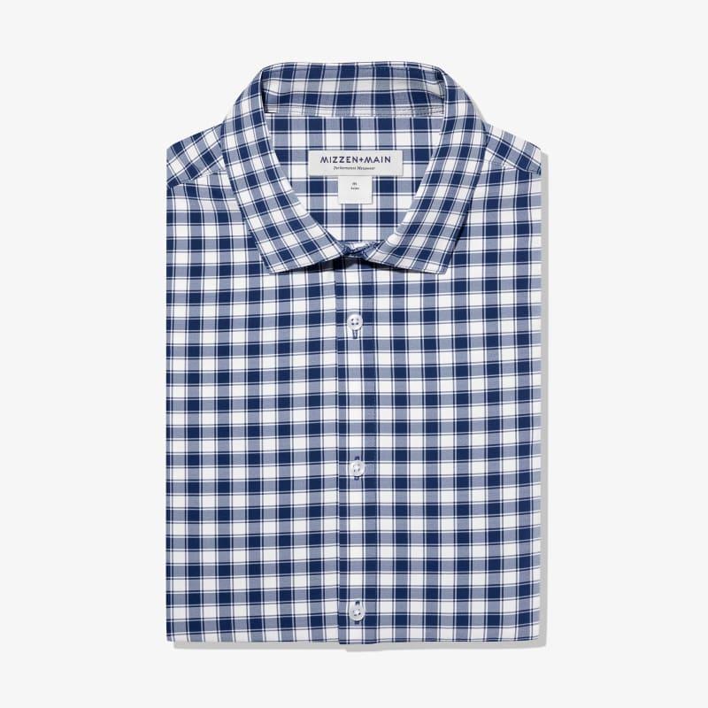 Lightweight Leeward Dress Shirt - Navy White Check, featured product shot