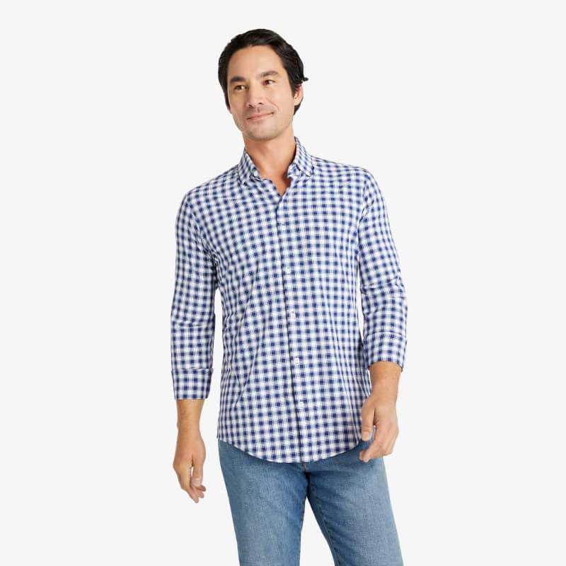Lightweight Leeward Dress Shirt - Navy White Check, lifestyle/model
