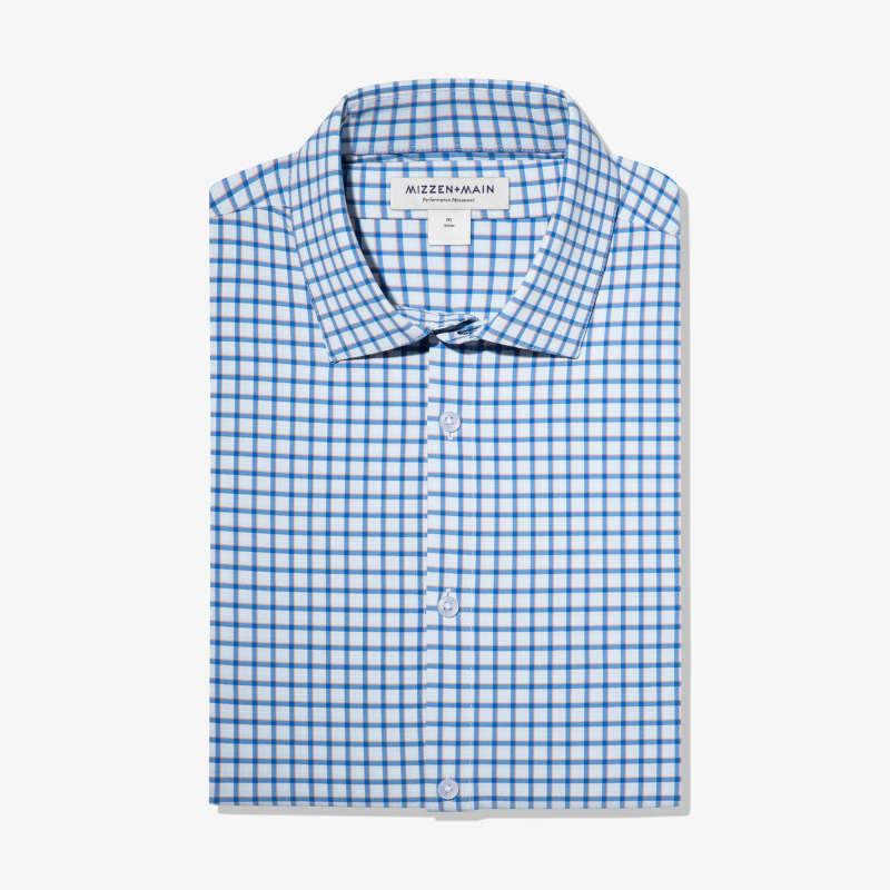 Lightweight Leeward Dress Shirt - Blue Orange Check, featured product shot
