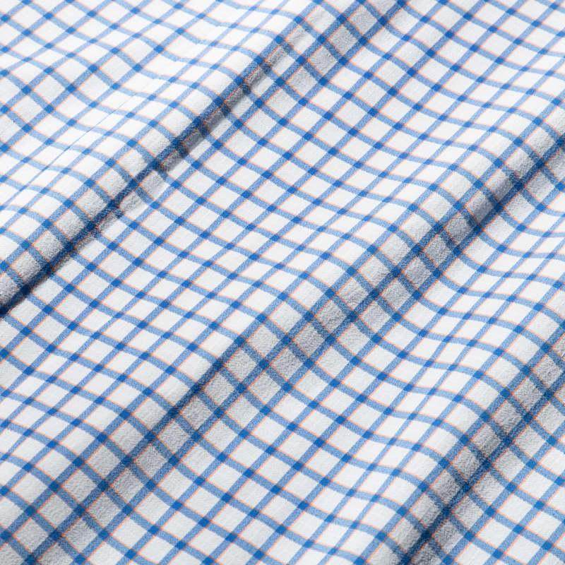 Lightweight Leeward Dress Shirt - Blue Orange Check, fabric swatch closeup