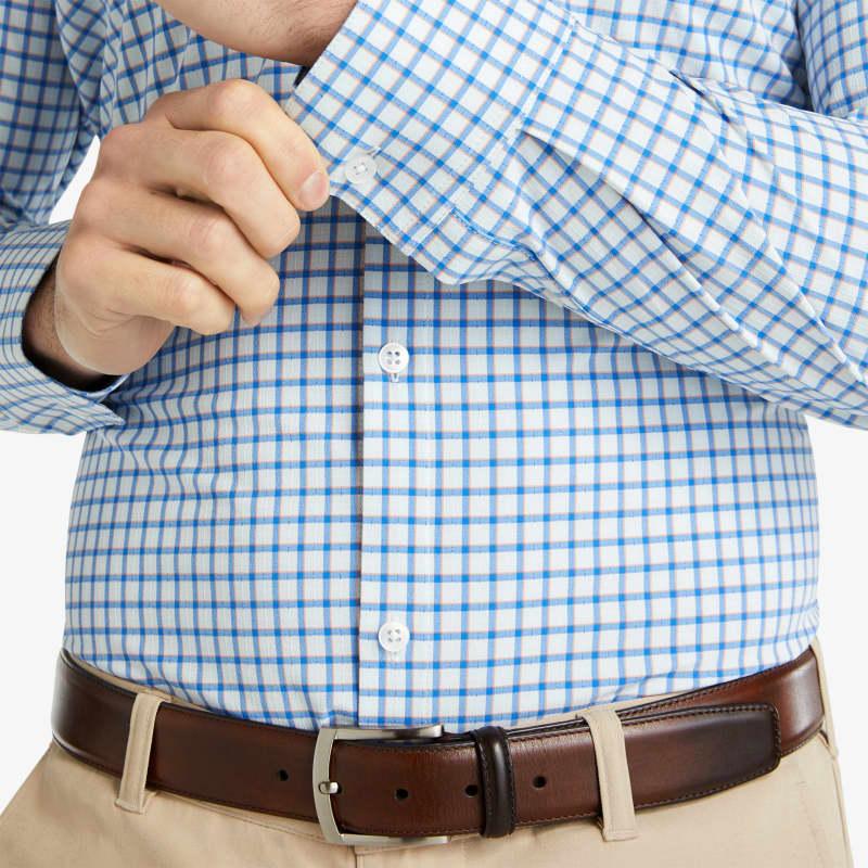 Lightweight Leeward Dress Shirt - Blue Orange Check, lifestyle/model