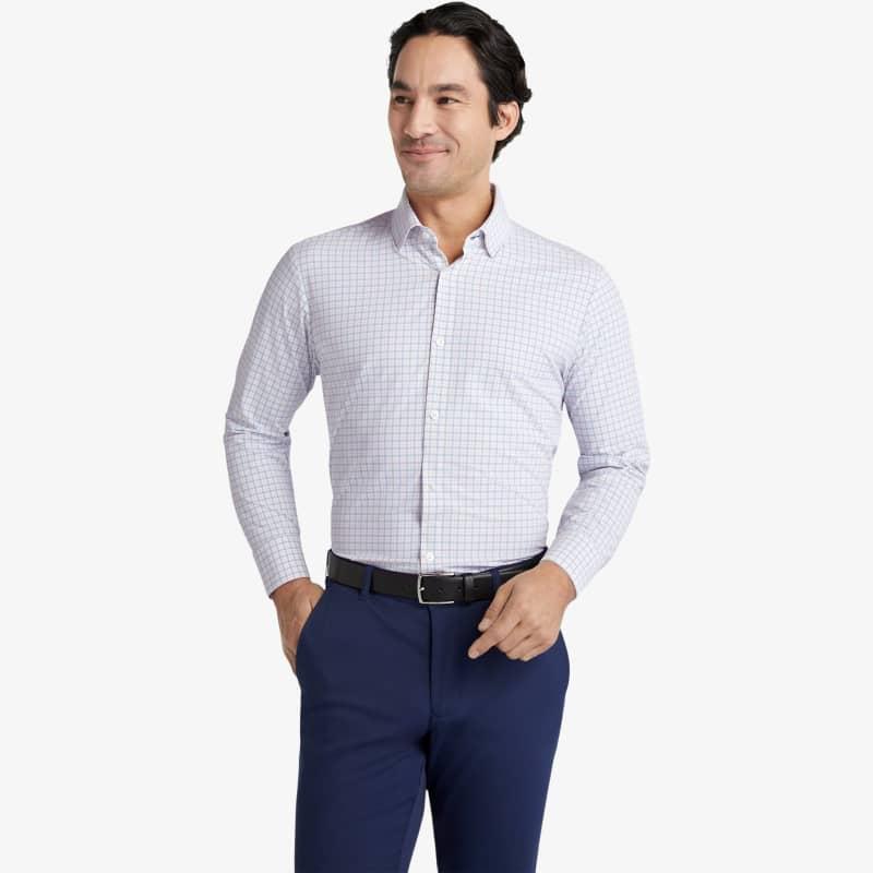 Lightweight Leeward Dress Shirt - Light Blue OrangeCheck, lifestyle/model