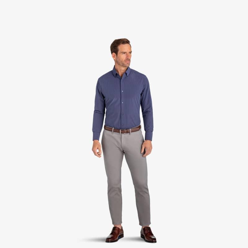 Leeward Dress Shirt - Navy Red MediumCheck, lifestyle/model